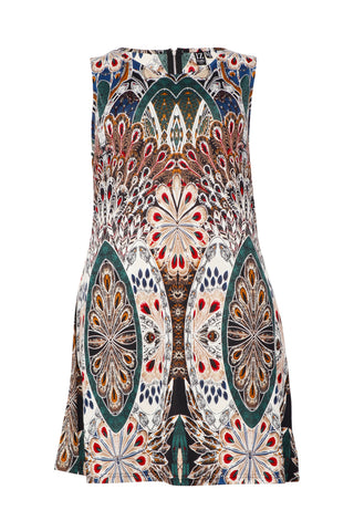 Abstract Botanical Print Bodycon Dress