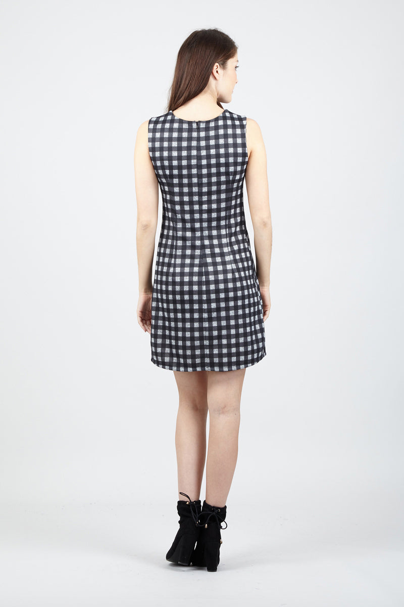 Checked Shift Dress - Izabel London