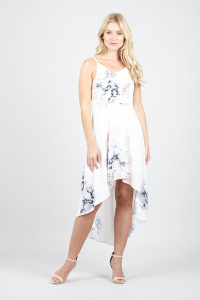 Floral High Low Hem Dress - Izabel London