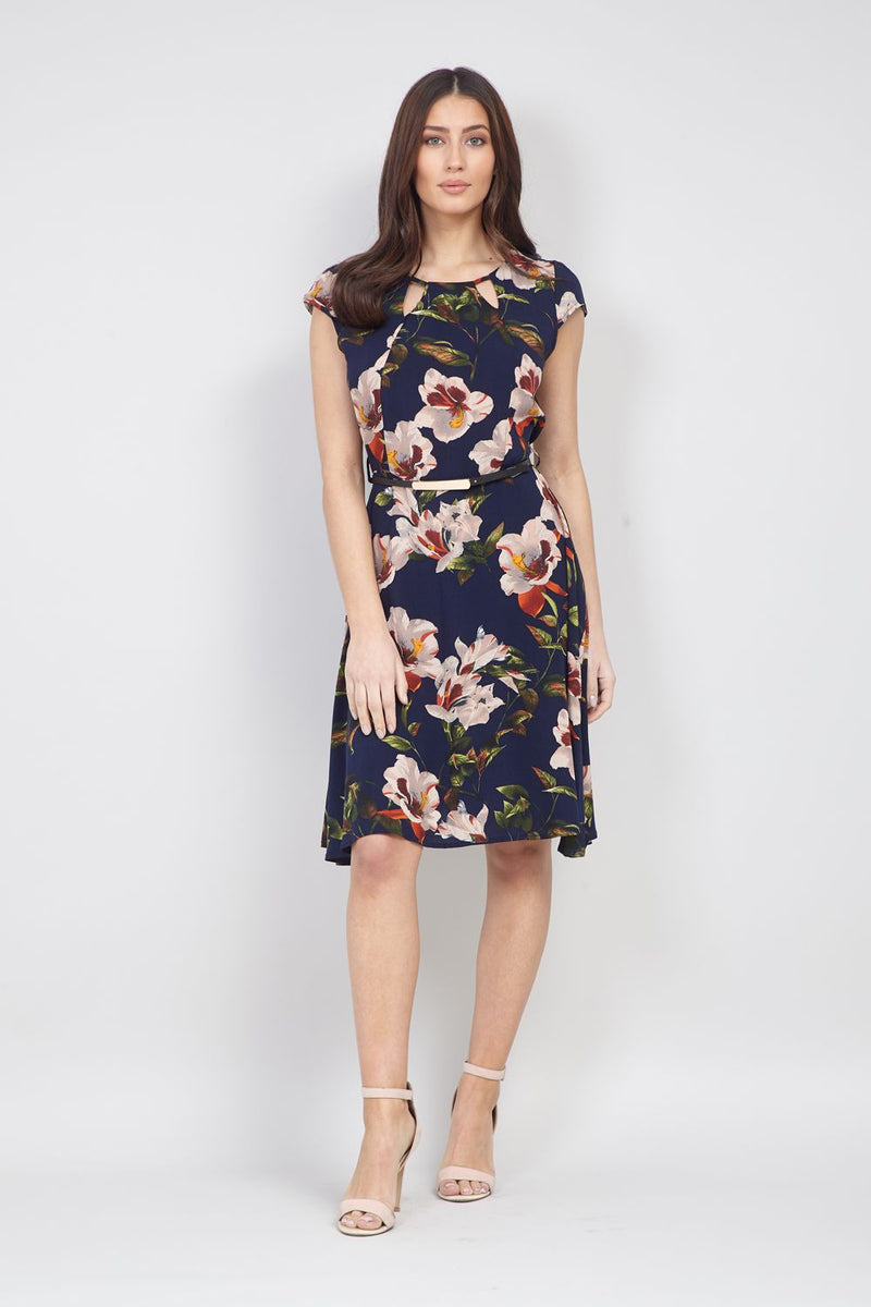 White | Floral Belted Tea Dress