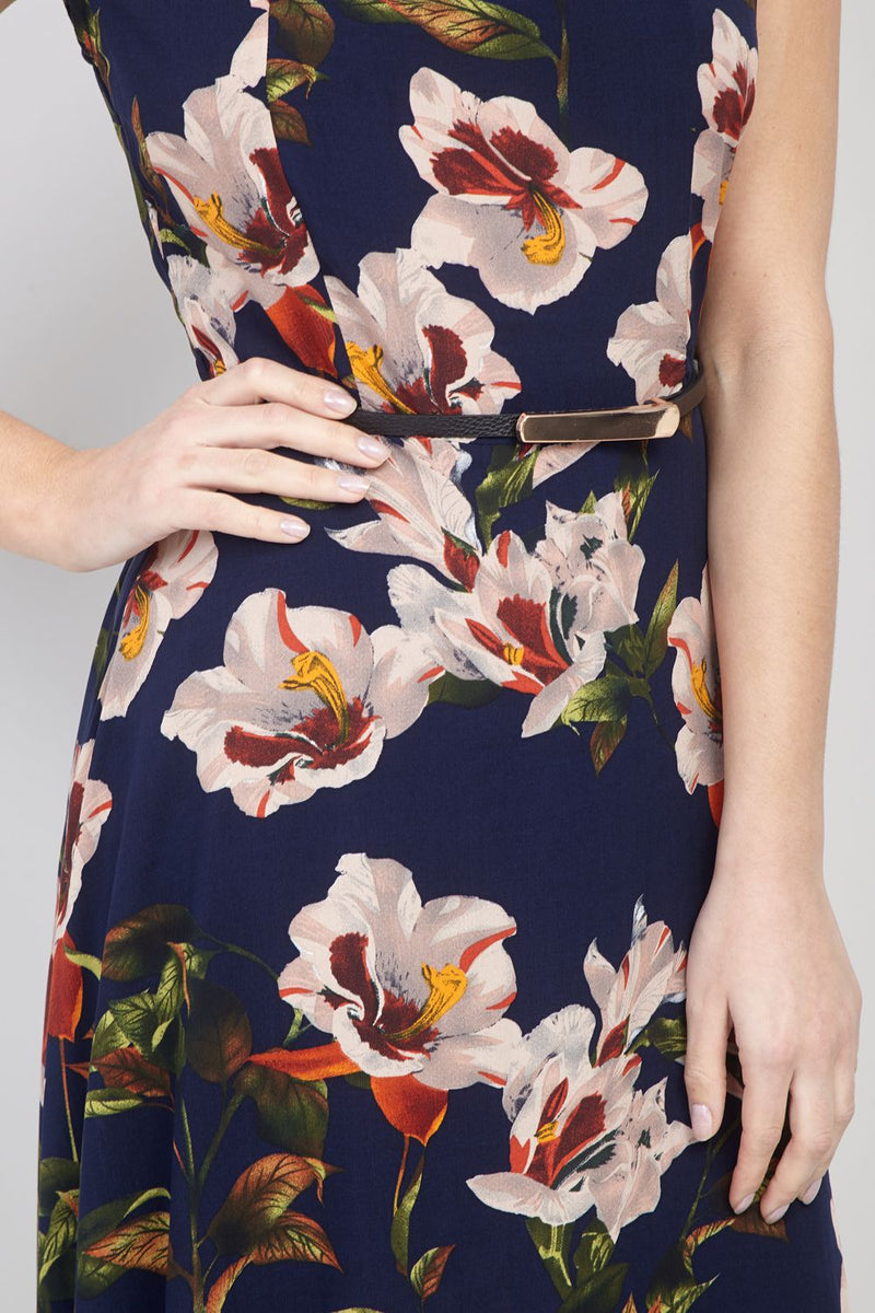 Navy | Floral Belted Tea Dress