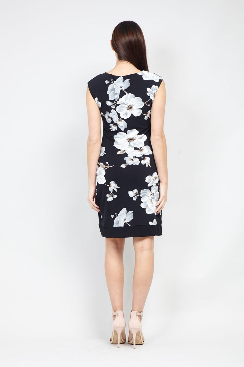 Floral Wrap Front Bodycon Dress - Izabel London