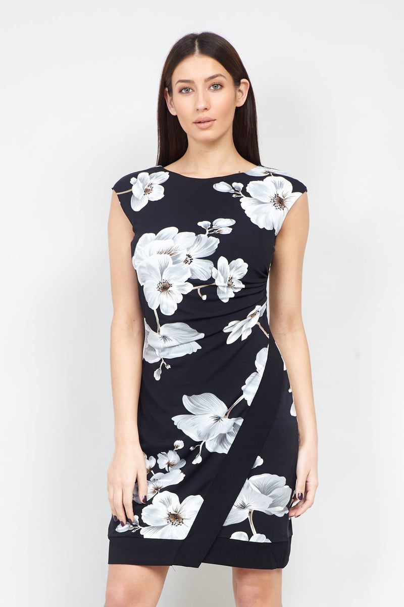 Black | Floral Wrap Front Bodycon Dress | Izabel London