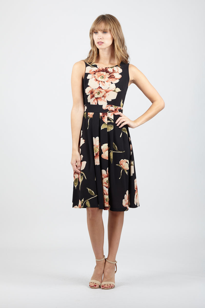 Black | Floral Medi Tea Dress