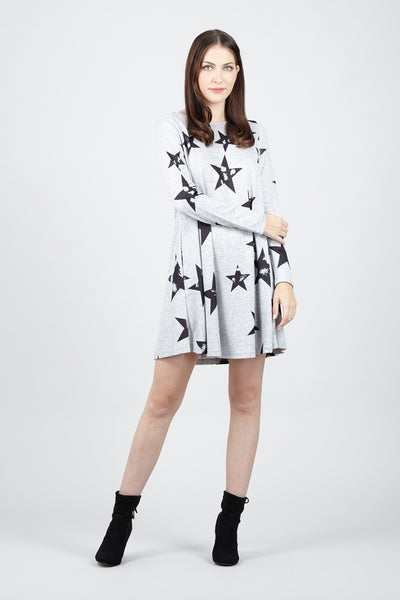 Star Print Swing Dress - Izabel London