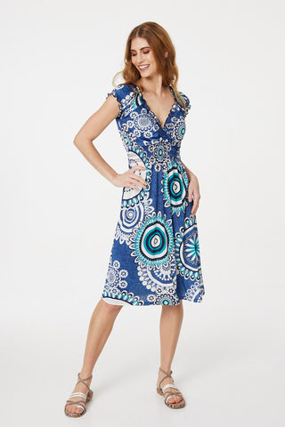 Snake Print Lace Shift Dress