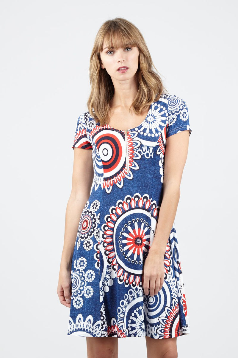 Blue | Zip Front Mosaic Print Dress