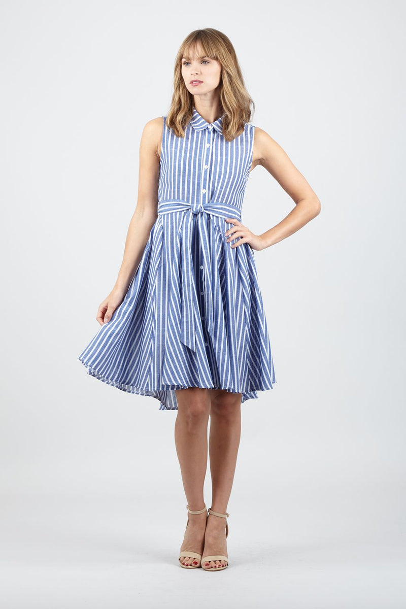55e822e1a00363 Striped Tie Waist Shirt Dress – Izabel London