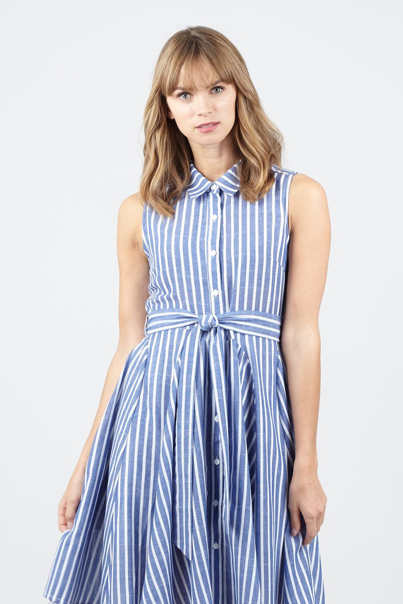 Striped Tie Waist Shirt Dress - Izabel London
