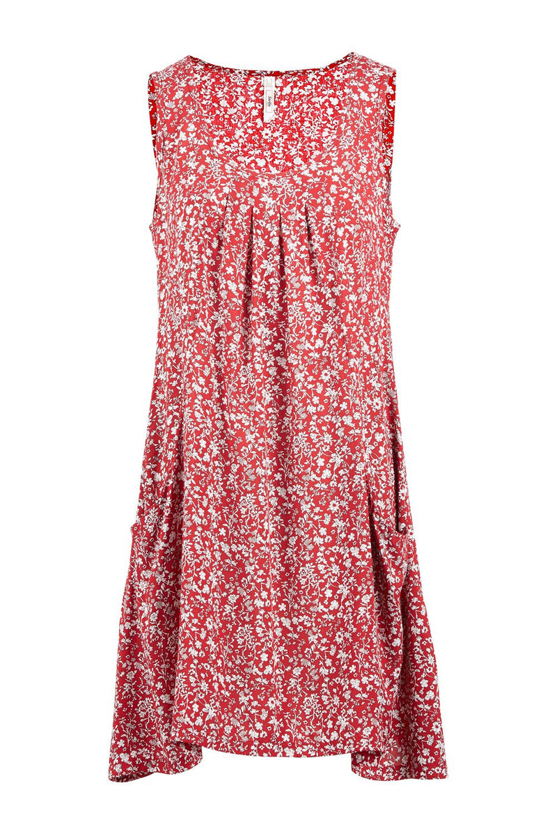 Red | Ditsy Floral Smock Dress