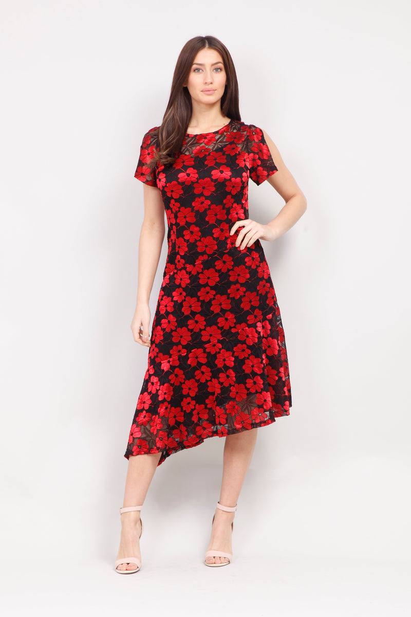 Red | Floral Asymmetric Midi Dress