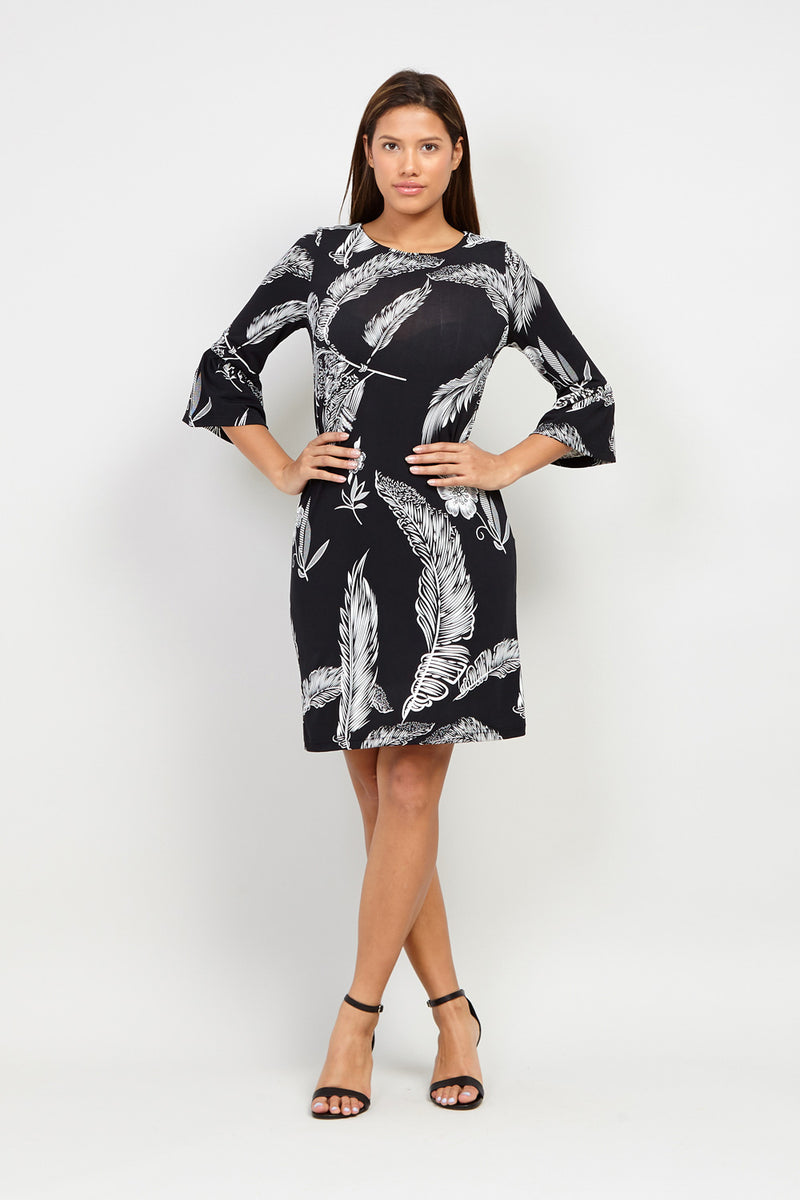 Leaf Print Shift Dress - Izabel London