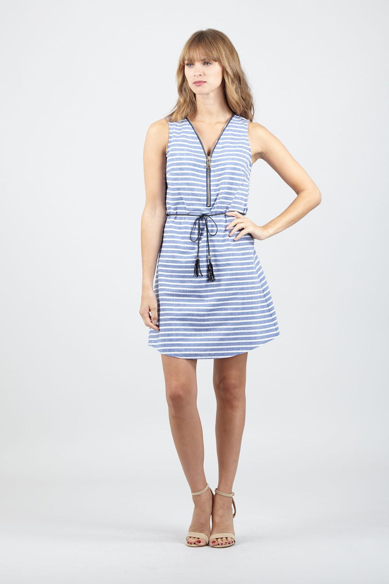 Blue | Striped Zip Front Shift Dress