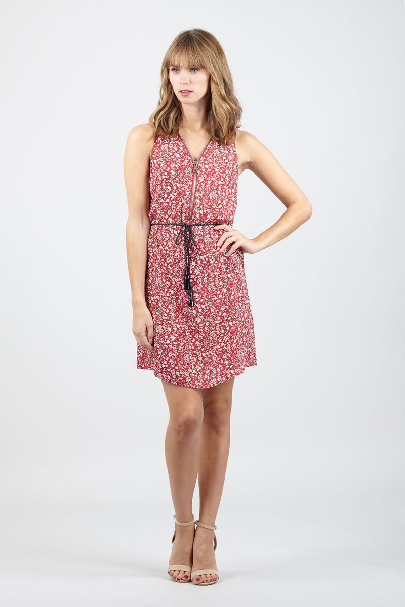 Red | Ditsy Floral Zip Front Tea Dress