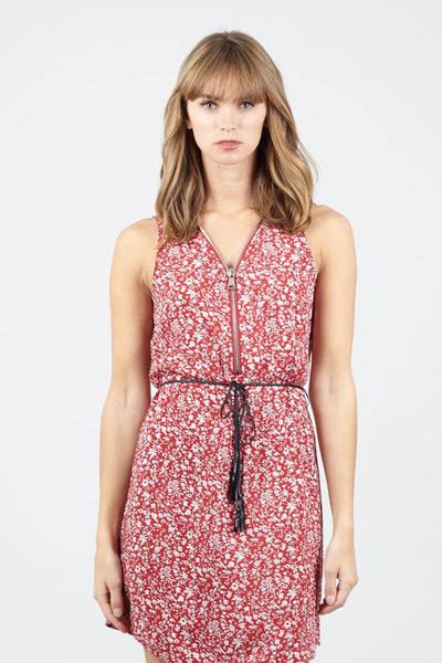 Ditsy Floral Zip Front Tea Dress - Izabel London