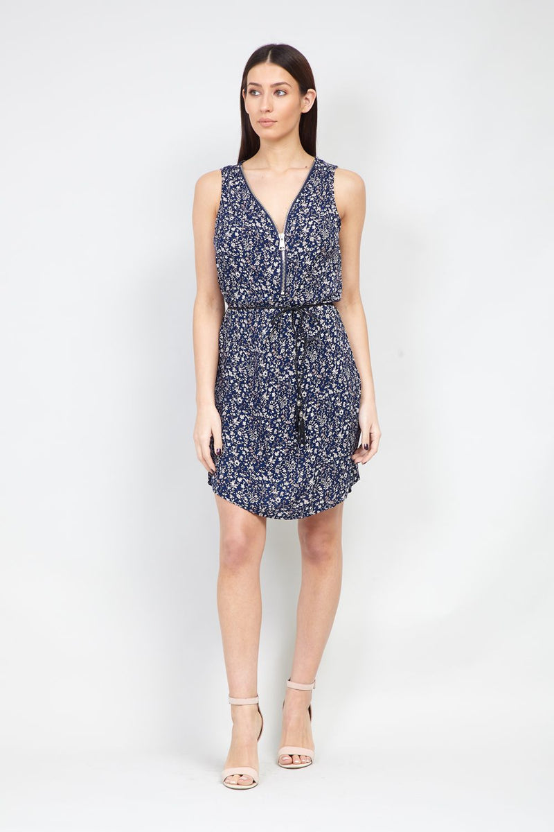 Navy | Ditsy Floral Zip Front Tea Dress