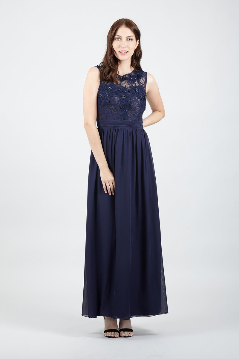 Navy | Embellished Lace Top Maxi Dress
