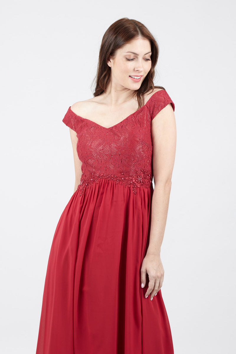 Red | Off The Shoulder Lace Top Dress