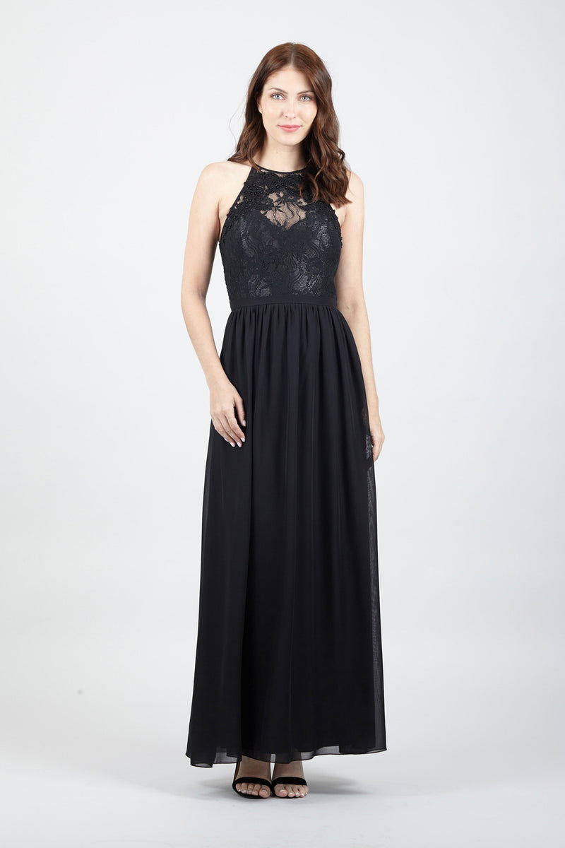 High Neck Lace Front Maxi Dress - Izabel London