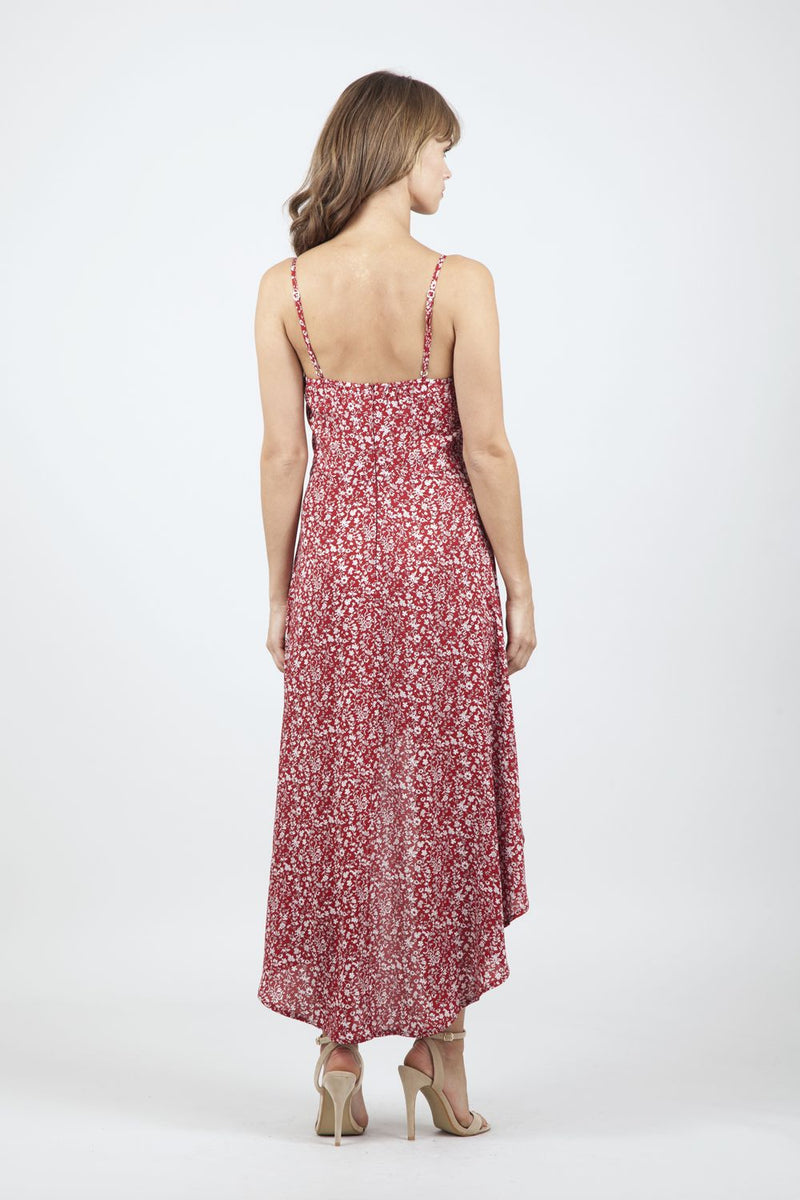 Red | Ditsy Floral High Low Dress
