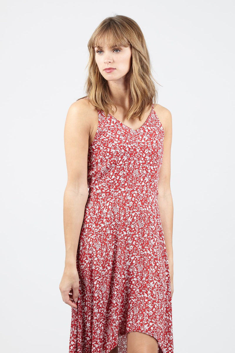 Navy | Ditsy Floral High Low Dress