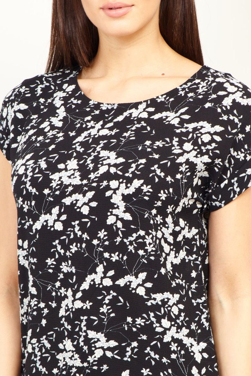 Black | Ditsy Floral Shift  Dress