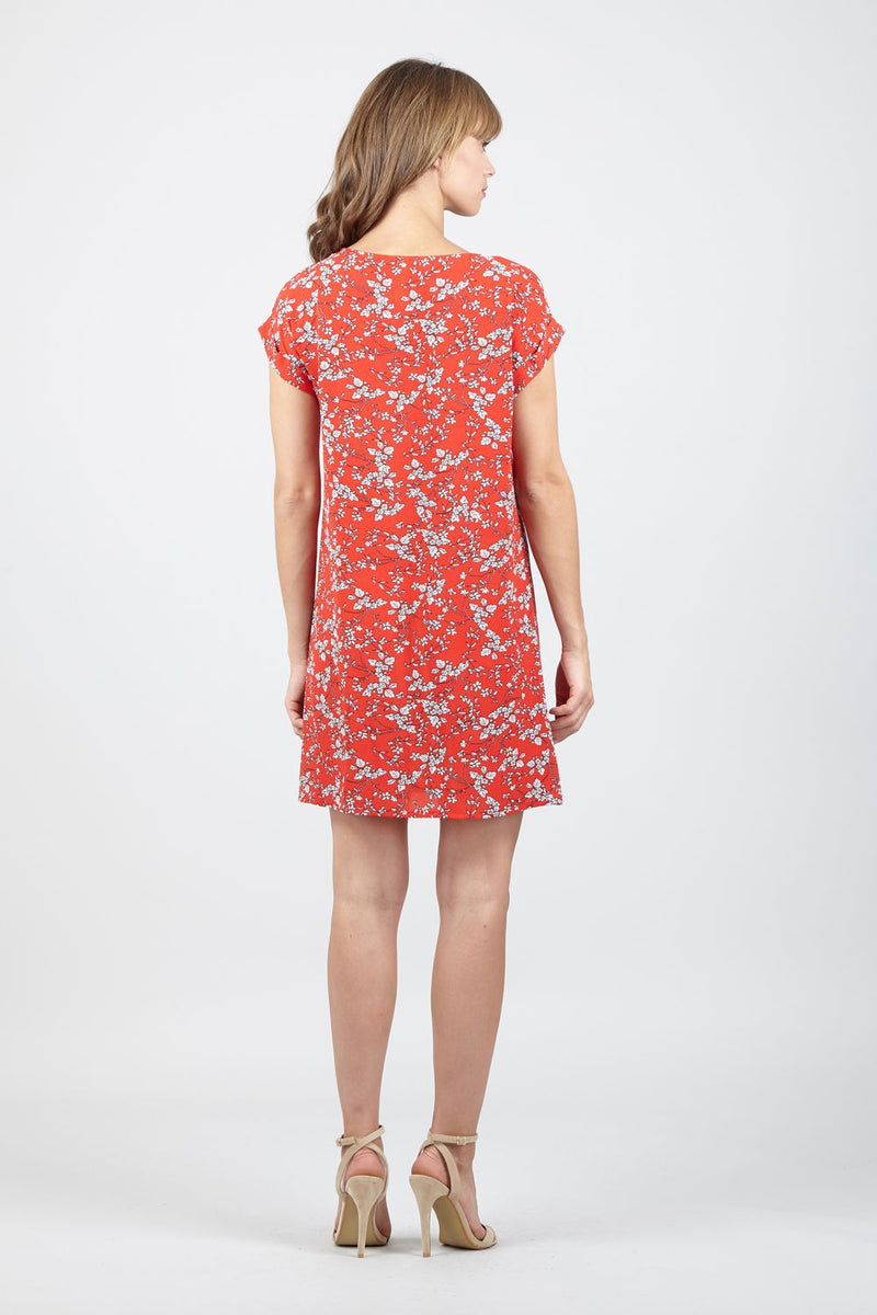 Red | Ditsy Floral Shift  Dress