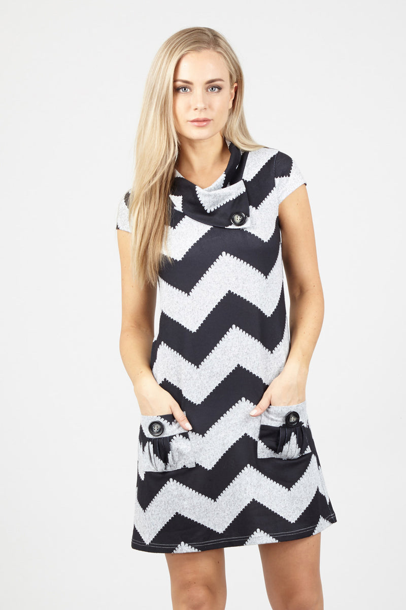 Zig Zag Tunic Dress - Izabel London