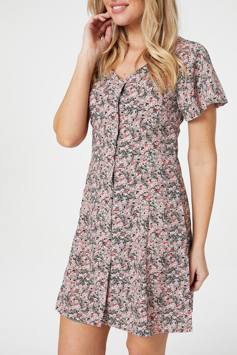 Pink | Ditsy Floral Tea Dress