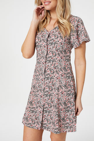 Floral Border Print Skater Dress