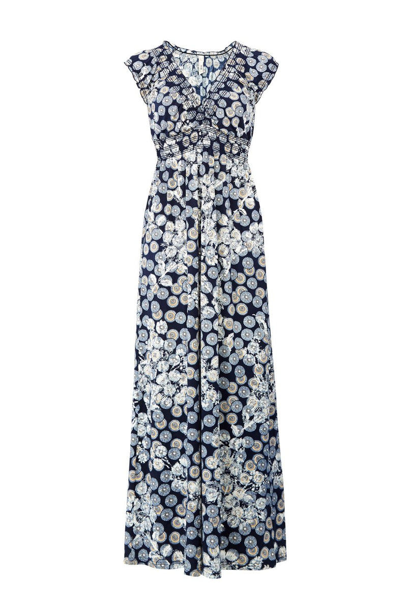 Shirred Neck Maxi Dress - Izabel London