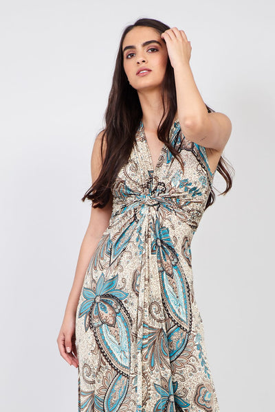 Paisley Print A-Line Maxi Dress - Izabel London