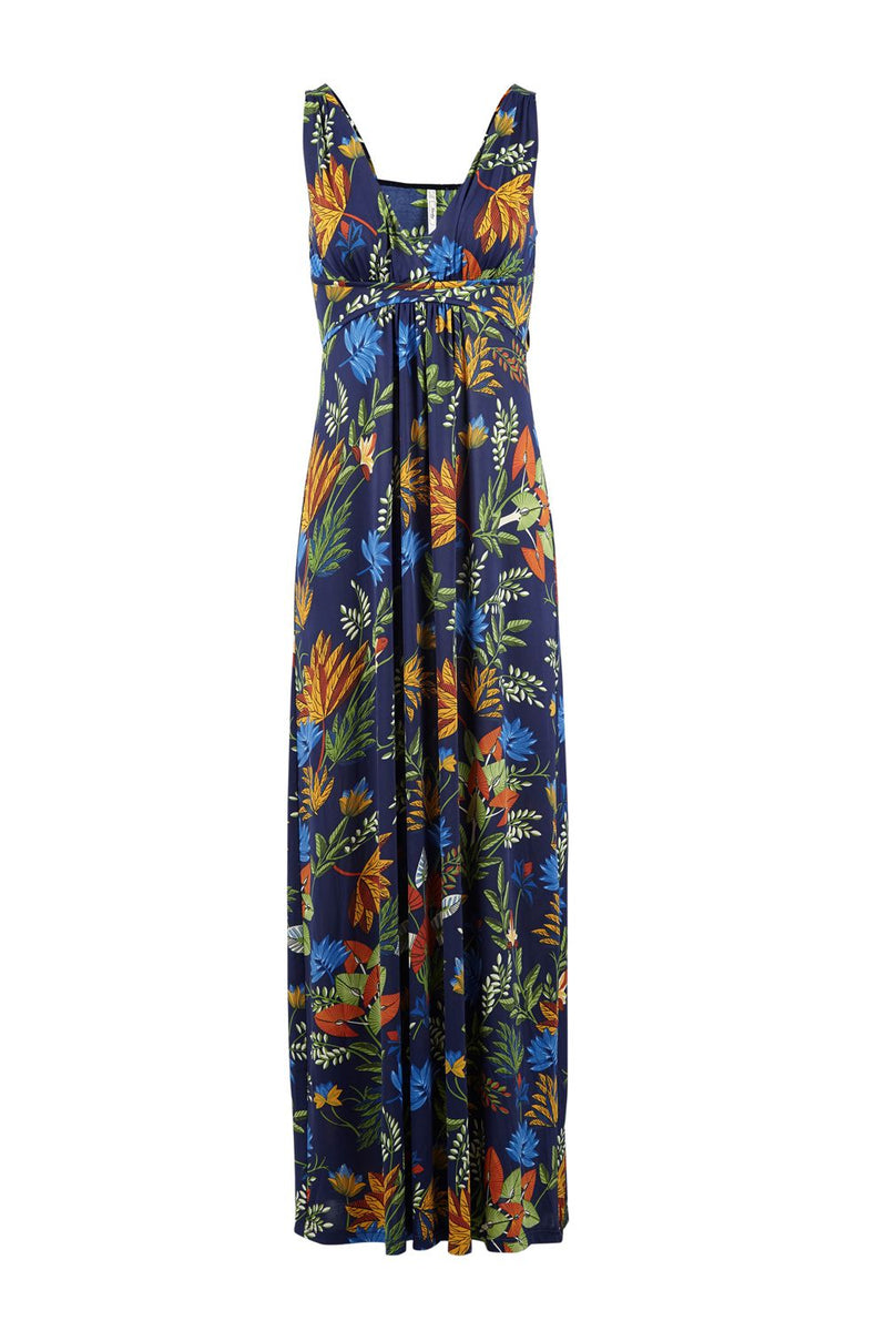 Tropical Print Plunge Maxi Dress - Izabel London