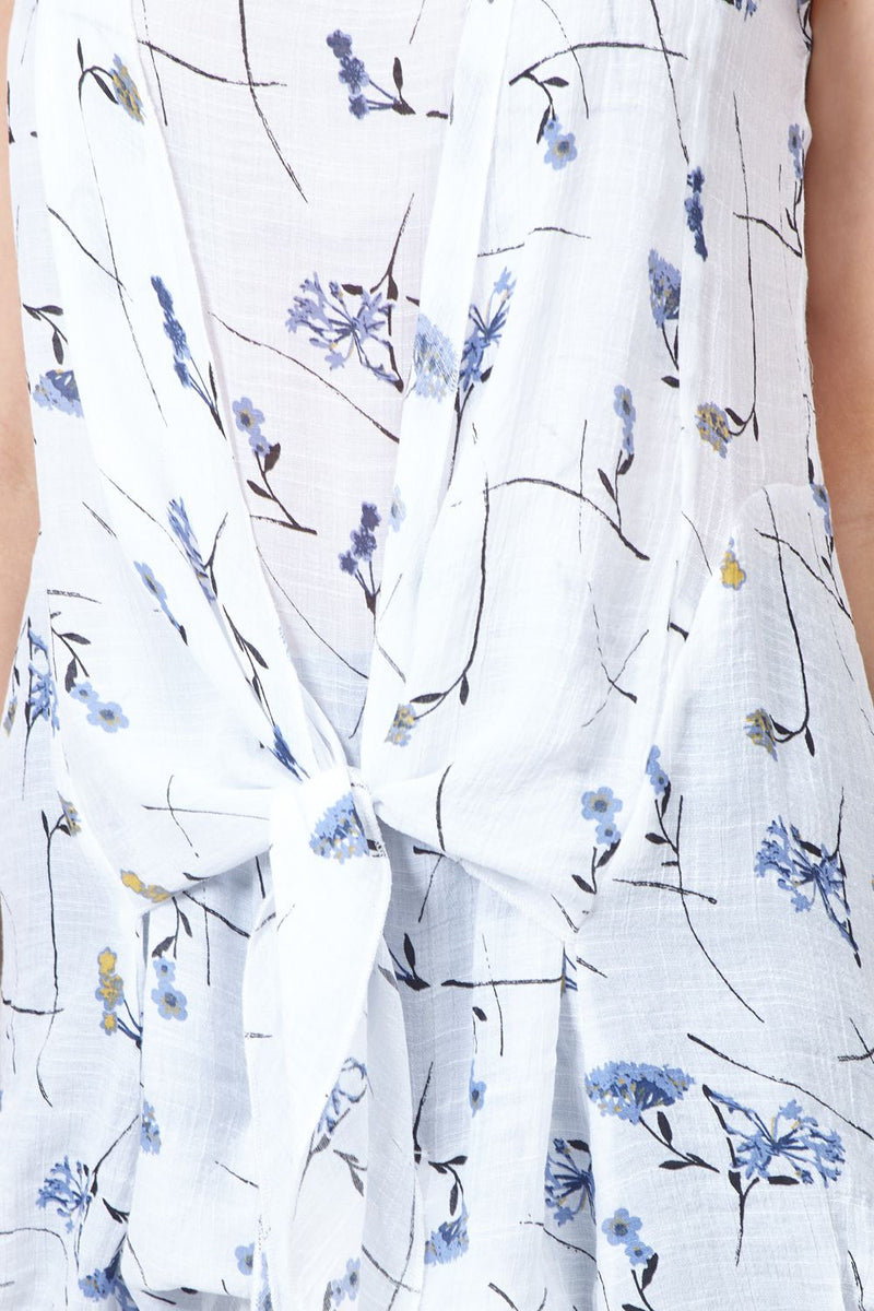 White | Floral Tie Front Linen Tunic
