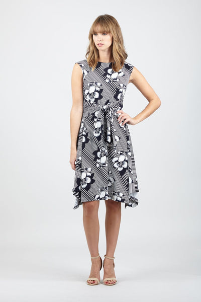 Floral Tie Waist Tea Dress - Izabel London