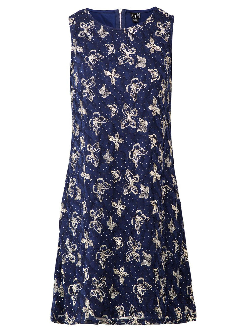 Butterfly Print Lace Shift Dress - Izabel London