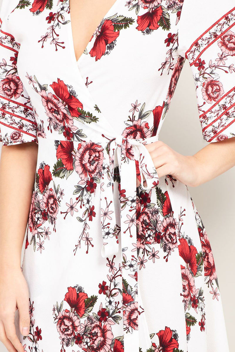 White | Floral Wrap Midi Dress