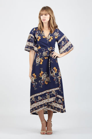 Floral Cape Overlay Dress