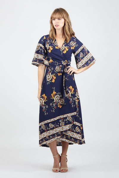 Floral Wrap Midi Dress - Izabel London