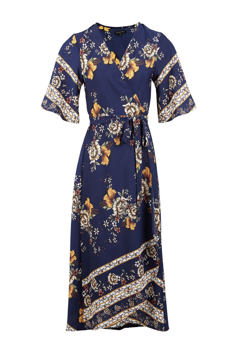 Navy | Floral Wrap Midi Dress