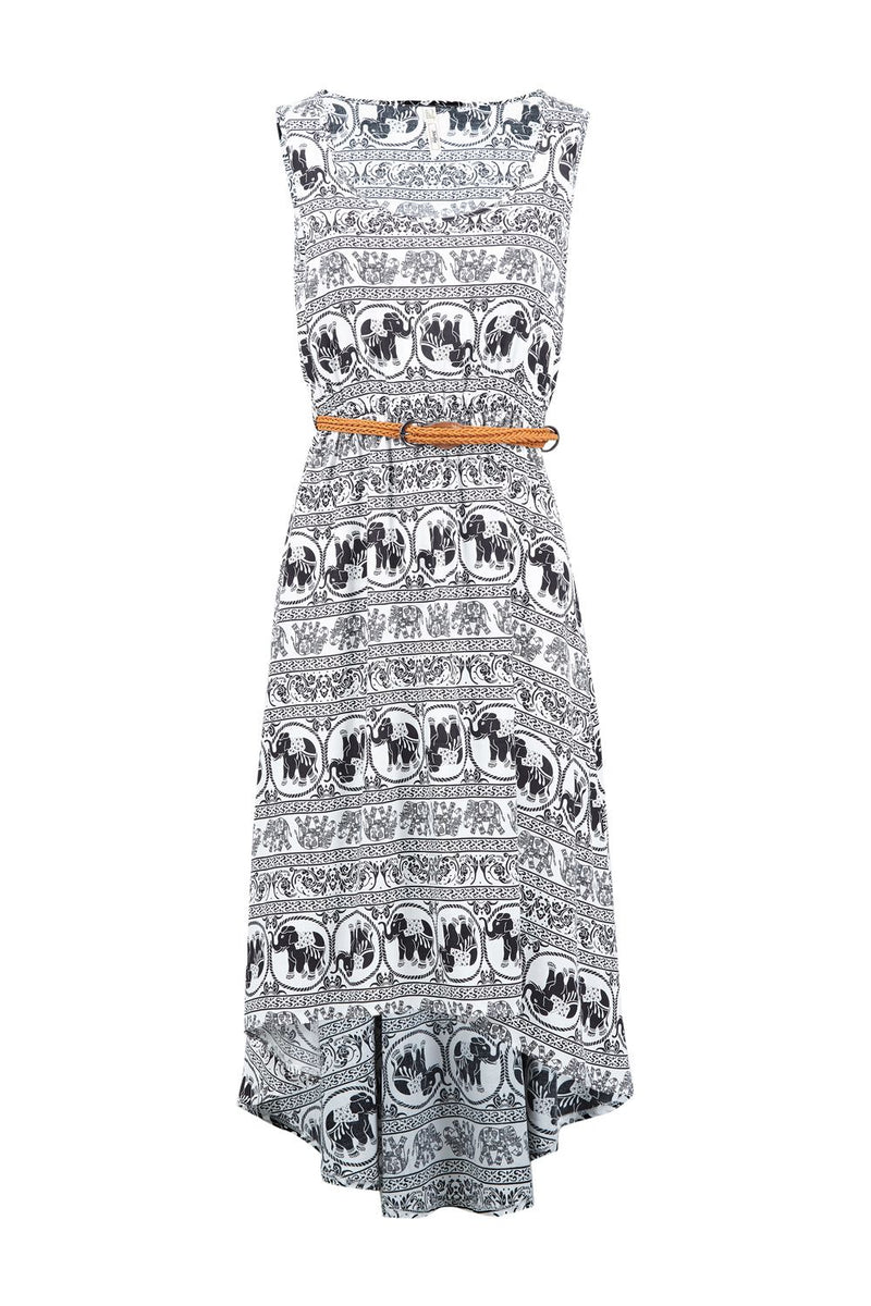 White | Tribal Dip Hem Dress