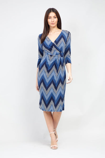 Chevron Print Wrap Dress - Izabel London
