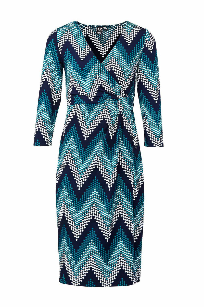 Teal | Chevron Print Wrap Dress