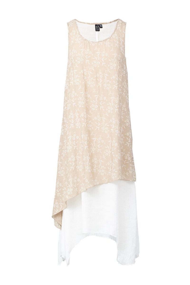 Beige | Floral Layered Hem Midi Dress