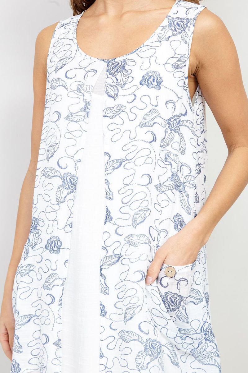 White | Floral Split Front Tunic Dress