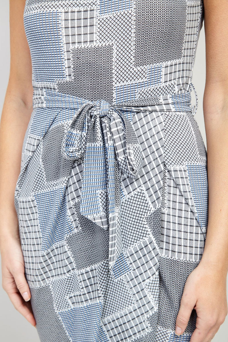 Grey | Patchwork Print Midi Dress