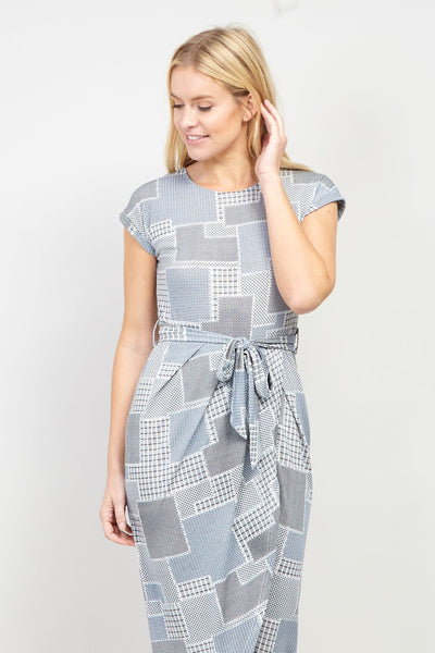 Patchwork Print Midi Dress - Izabel London