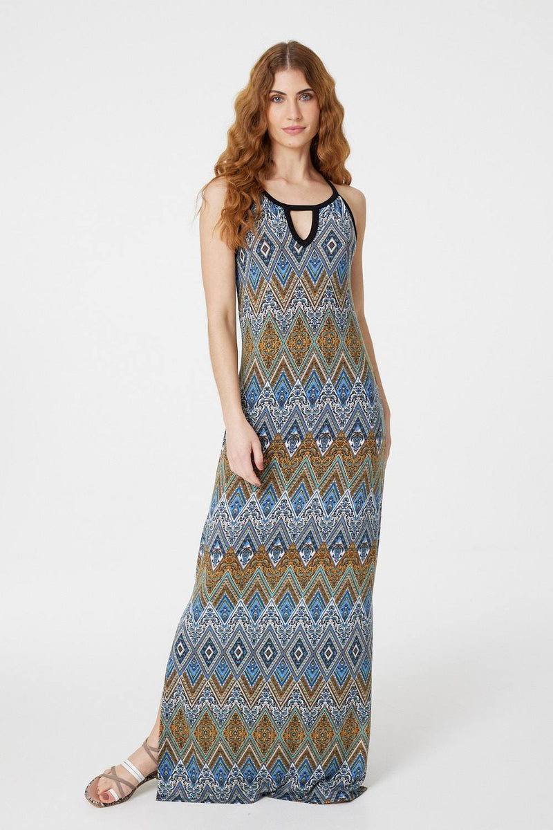 Blue | Tribal Print Maxi Dress