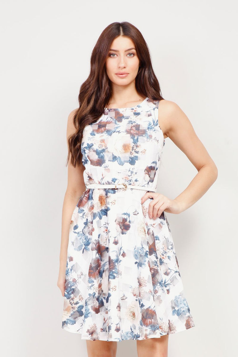 White | Vintage Floral Tea Dress | Izabel London
