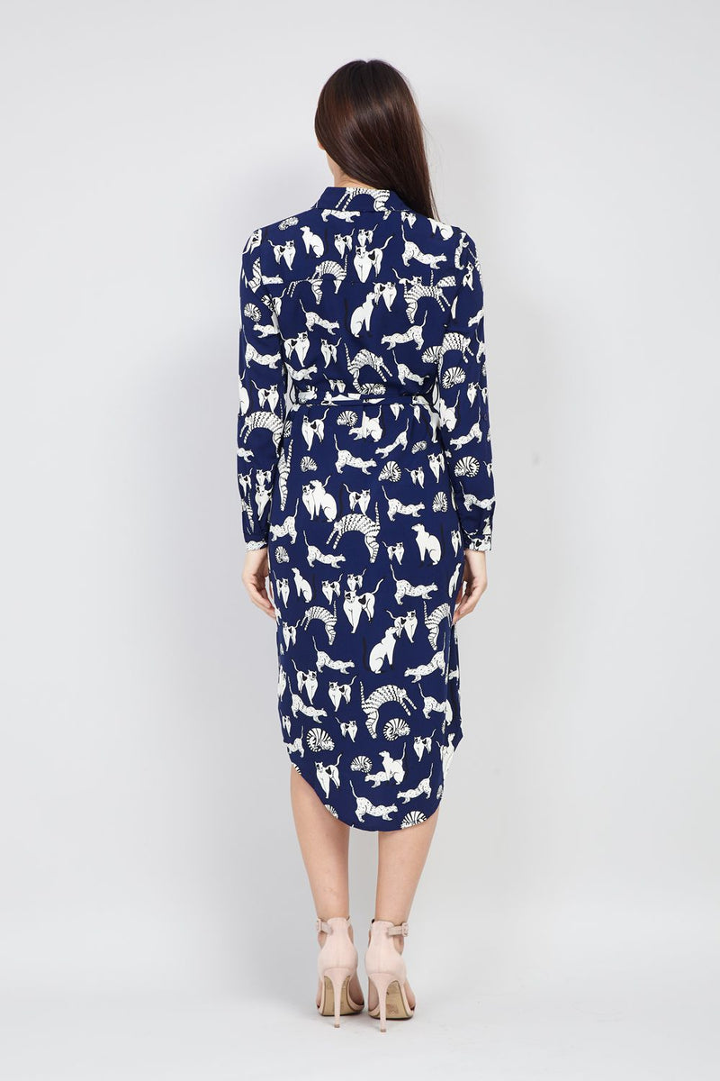 Navy | Cat Print Shirt Dress